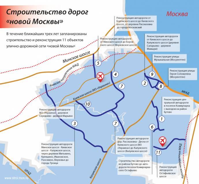 """11 автодорог в """"новой Москве"""""""